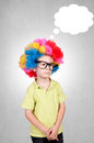 Boy mind blank cloud over the little head Royalty Free Stock Images