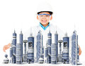 Boy with a modern city Royalty Free Stock Photo