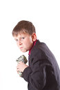 Boy with money bag Royalty Free Stock Image