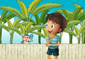 A boy and a monkey near the banana plantation illustration of Royalty Free Stock Image