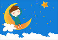 The boy on the moon Royalty Free Stock Photo