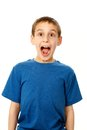Boy with mouth wide open portrait of surprised isolated on white Stock Photo
