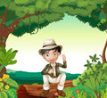 A boy in nature illustration of green beautiful Stock Photos