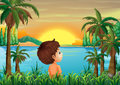 A boy near the river illustration of Royalty Free Stock Image