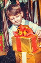 Boy with New Year's gifts Royalty Free Stock Image