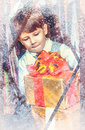 Boy with New Year's gifts Stock Photography