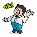 Boy and ok cartoon of a doing gesture Stock Photography