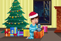 Boy opening a present under the christmas tree vector illustration of cute little Stock Image