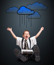 Boy oversized clothing laptop cloud computing Stock Images