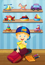 Boy packing bag in room Royalty Free Stock Photo