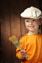 Boy with paint brush Stock Photography