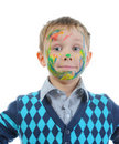 Boy with paint stained face Stock Image