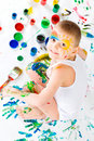 Boy with paints. Stock Image