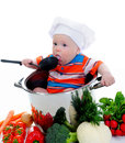 Boy with a pan Royalty Free Stock Photography
