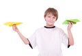 Boy with paper airplanes Stock Image