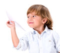 Boy with a paper plane little isolated over white background Stock Photos