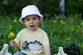Boy in a park with dandelions in hand Royalty Free Stock Photo