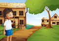 A boy at the pathway in the neighborhood illustration of Stock Image