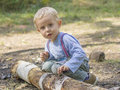 Boy peels bark from the tree logs which he found in woods Royalty Free Stock Image