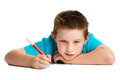 Boy with pen. Stock Image
