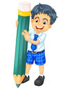 A boy and pencil Royalty Free Stock Photo