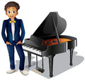 A boy beside the piano illustration of on white background Stock Photo