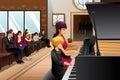 Boy in piano recital a vector illustration of with his teacher Stock Photos