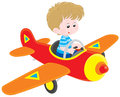 Boy pilot little flying a toy plane Stock Images