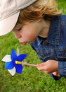 Boy and pinwheel Royalty Free Stock Photo