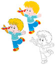 Boy with a plane little playing toy airplane three versions of the illustration Stock Photography