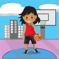 Boy Play Basketball character design cartoon art and Royalty Free Stock Photo