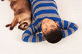 Boy play with brown cat Royalty Free Stock Photo