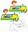 Boy play in a sandbox little playing with toy excavator sandpit on children playground three versions of the illustration Royalty Free Stock Photo