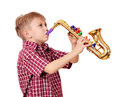 Boy play saxophone Stock Photos