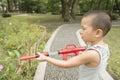 Boy play water gun Royalty Free Stock Photo