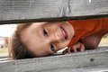 Boy playfull hiding playing and looking over wooden boards Royalty Free Stock Photography