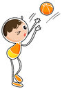 A boy playing basketball illustration of on white background Stock Image