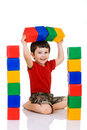 Boy playing with blocks Stock Photos