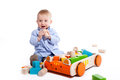 Boy playing with blocks Stock Photography
