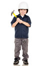 Boy playing a builder Royalty Free Stock Photo
