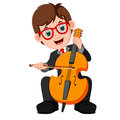 Boy playing cello cartoon