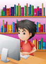 A boy playing computer in front of the shelves with books illustration Royalty Free Stock Image