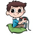 Boy playing computer games and holding a joystick Royalty Free Stock Photo
