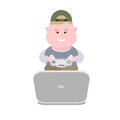 Boy playing computer games illustration of on white background Royalty Free Stock Images