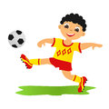 Boy playing football childrens sport in summertime Royalty Free Stock Images