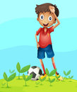 A boy playing football illustration of in beautiful nature Royalty Free Stock Photography