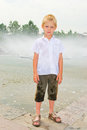 Boy playing in the fountain Royalty Free Stock Photo