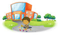 A boy playing in front of the school building illustration on white background Royalty Free Stock Images