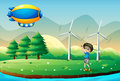 A boy playing golf in the field with windmills illustration of Stock Images