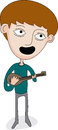 Boy playing guitar illustration of a Stock Photos